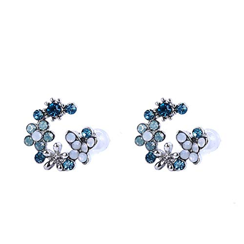 Timesuper Women Earring Elegant Rhinestone Garland Stud Earring Cute Flower Circle Jewelry Decoration Gifts,blue