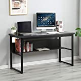 SDHYL 54.7 inch Modern Computer Desk with Bookshelf Spacious Office Desk Workstation for Home Office Sturdy Writing Desk with Storage Shelf Wood Desk Large Computer Table, Black, S7-LD-JB01BW-US
