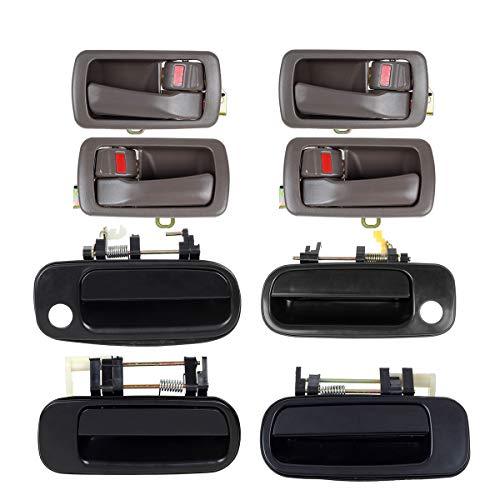 Autex 4pcs Interior + 4piezas exterior puerta handle-left (conductor lateral) y derecho (lado del pasajero) para 19921993199419951996Toyota Camry