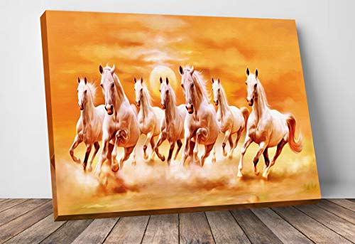 7 Running Horses Vaastu Canvas Photo Frame Yellow Home Decorative Gift Item Framed Painting 24 inch X 16 inch