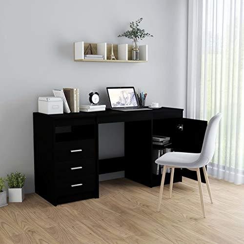 WooDlan Mesa Ordenador | Mesa Despacho | Mesa de Oficina escritorios Juveniles con 3 Cajones y 1 Puerta, Mesa Despacho, Escritorio, Acabado en Color Negro, 140x50x76 cm