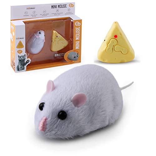 BSTCAR Katzenspielzeug Maus, RC Maus Katzenspielzeug Plüsch Rat Toy mit Käsefernbedienung Elektrische Maus für Katzen