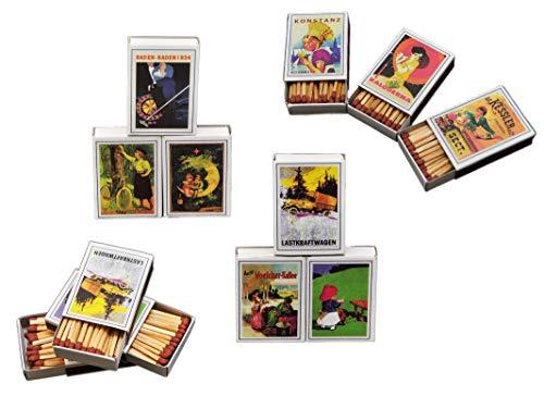 jameitop® Streichhölzer 18 Schachteln Retro/Nostalgie Zündholzschachtel Zündhölzer 720 Stück Sicherheitszündhölzer, 41mm