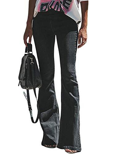 Minetom Mujer Pantalones Acampanados Vaquero Skinny Push Up Pantalones Elástico Jeans Cintura Alta Denim Mezclilla Pants Negro M