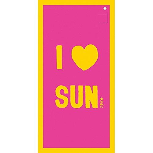 Incidence 85154 Drap de bain Ipanemaïa I love sun Rose fuchsia et jaune Serviette de plage Microfibre Anneau de suspension et poche de rangement 0,40 x 90 x 180 cm