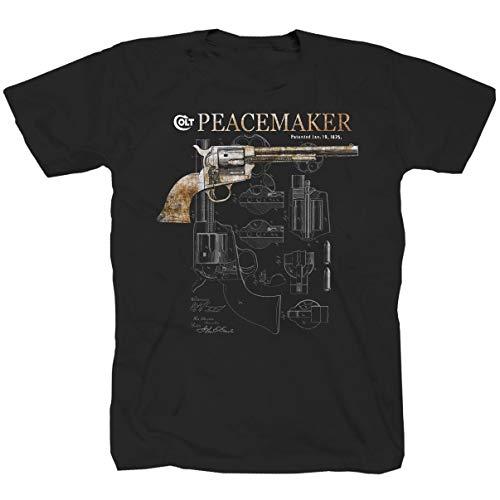 Colt Peacemaker pistola Revolver USA America arma Camicia Maglietta T-shirt Nero XXXL
