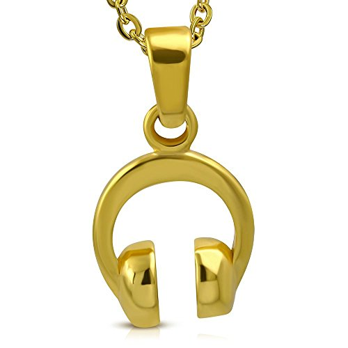 Bungsa koptelefoon headphones hanger goud roestvrij staal (Beats muziek Hiphop Rap Dr. DRE hanger kettinghanger amulet medaillon charm kralen chirurgisch staal dames heren sieraden