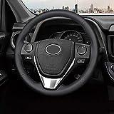 Cousu main Couvre volant for Toyota RAV4 2020 RAV4 Rongfang Corolla Ralink Double moteur Volant en cuir couverture (Color : Black Thread)