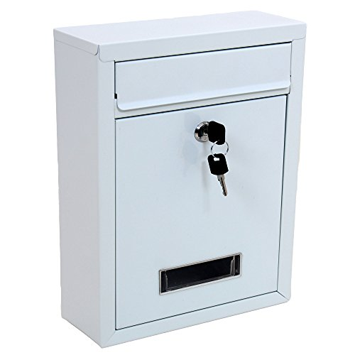 External Mailbox Wall Mounted Outdoor White Metal Letterbox...