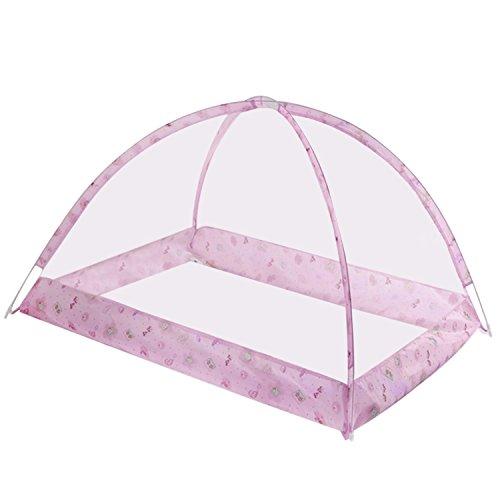 Zanzariera,Bambino letto zanzariera portatile pieghevole estate dormire culla zanzariera per bambini bambino rosa