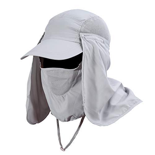 Gorra de Protección Solar Anti-UV, Sombrero Pesca del Sol Gorra al Aire Libre de Protección Solar Transpirable Cap Sombrero de Ala Ancha Protección UV Protege Cuello Cara para Hombre Mujer(Plata)