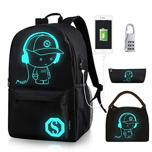 Oslimea Canvas School Backpack for Boys Girls College Anime Luminous Backpack 15.6 inch USB Lightweight Daypack Cartoon Bookbag Lunch Bag Pencil Case