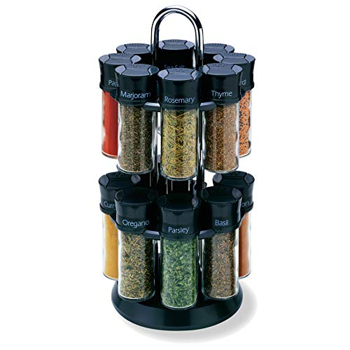 Olde Thompson 16-3oz Glass Jar Revolving Carousel Spice Rack - Allspice, Basil, Cinnamon, Cumin, Crushed Red Pepper, Dill, Fennel, Ginger, Marjoram, Oregano, Paprika, & Many More - Great for Cooking
