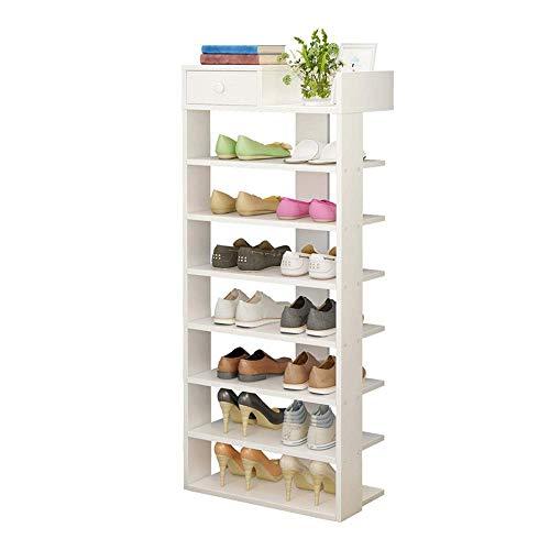 YAeele Bastidores de zapatos blancos zapatero 8 nivel de almacenamiento del gabinete de madera estante for Pasillo gran espacio de muebles Ahorro Fácil Ensamble (Color: Blanco, Tamaño: 43 * 24 * 116cm