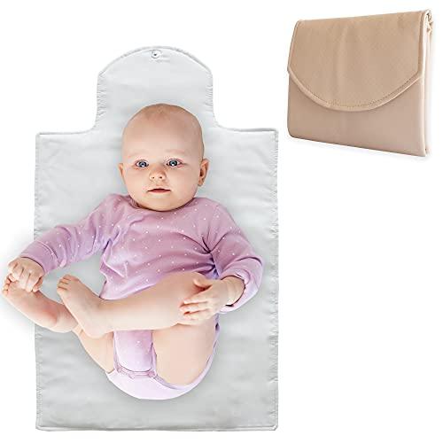 Duffi Baby Cambiador Bebe Portatil Polipiel. Plegable Bebes Recien Nacidos. De Viaje Impermeable Acolchado Suave. Pañales De Paseo. Circulos, color Beige, pequeño
