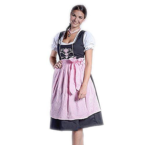 donnerlittchen! Midi-Dirndl Sara Schwarz/Rosa/Weiss mit Herzen Inklusive Bluse und Schürze 32-46 Tracht, Größe_Dirndl:38