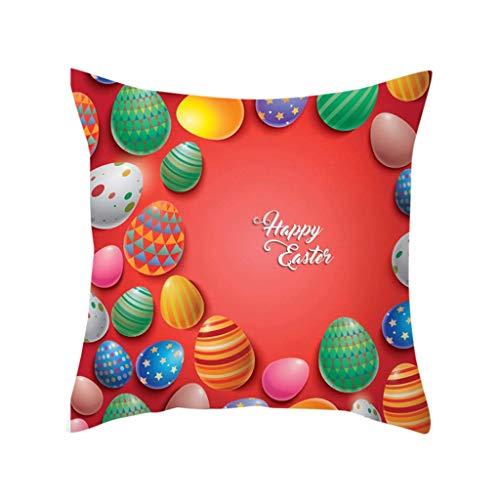 Primavera de Pascua Lindo Protector de cojín para sofá sofá Estampado de Conejo Funda de Almohada Funda de Almohada de Granja Conejito/Huevos Fundas de Almohada decoración del hogar Almohadas