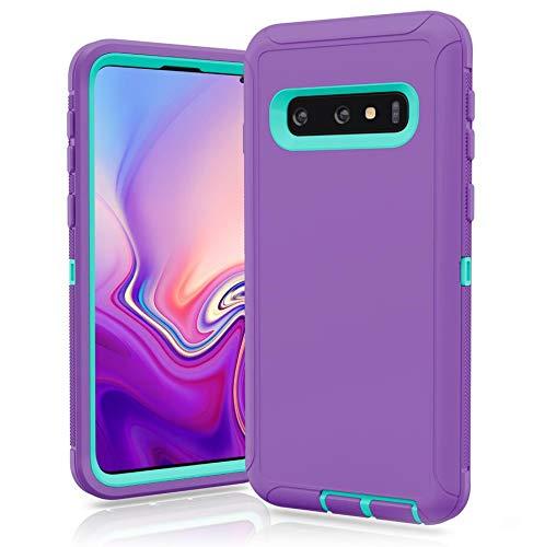 FastSun Samsung Galaxy S10 Plus Defender Case, Protective Defender Shockproof Hybrid Case Dual Layer Design Hard Cover for Samsung Galaxy S10 Plus (Purple-Teal)