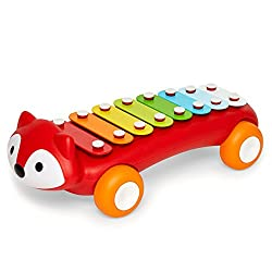 Eight colourful keys provide a full scale of musical notes Fox bobs up and down Attached mallet encourages walkers to make music anywhere Helps develop fine motor skills Store mallet under belly