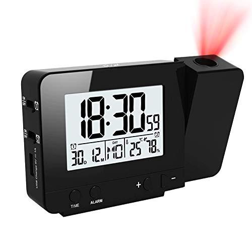 TTAototech Sveglia con proiezione, Sveglia Digitale con proiezione, Doppia Sveglia alimentata a Batteria con retroilluminazione, Funzione Snooze 12 24 Ore, Data, umidità Temperatura Interna
