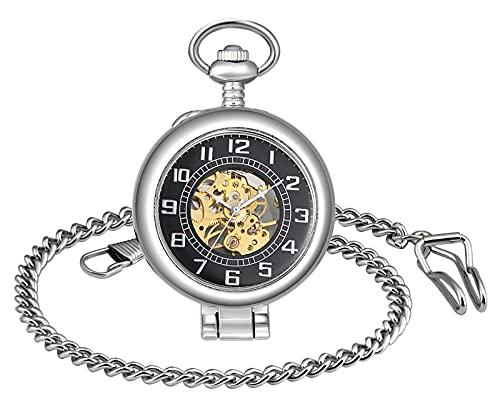 SUPBRO Reloj de bolsillo analógico para hombre y mujer, con cadena, de acero, plata,