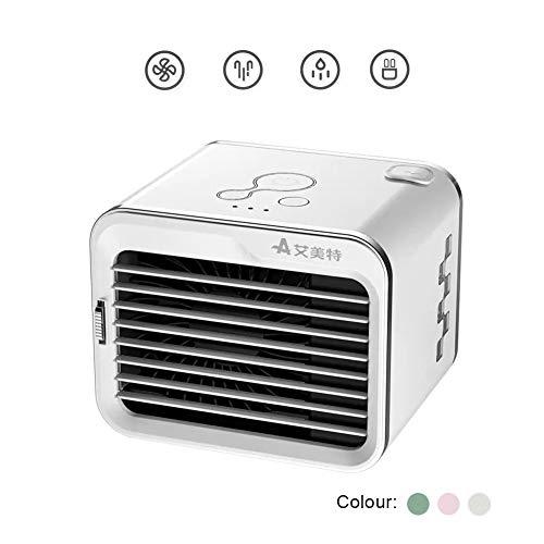LWJH Aire Acondicionado Portátil, Mini Ventilador Humidificador Purificador, USB Air Cooler, con 3 Velocidades, AireAcondicionadoInterior, Silencioso, Comlife, para Hogar, Oficina, Acampada,Blanco
