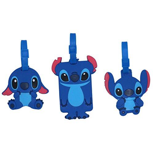 Set of 3 - Super Cute Kawaii Cartoon Silicone Travel Luggage ID Tag for Bags (Stitch 1)