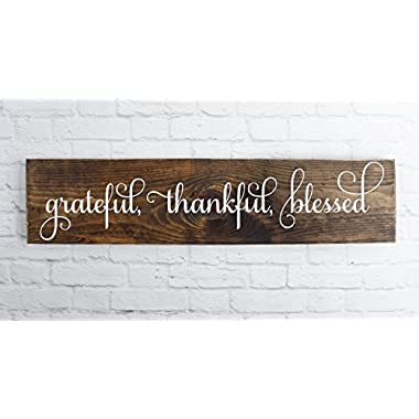 Dark Walnut Cursive Grateful Thankful Blessed Wooden SignRustic Handmade Decor -