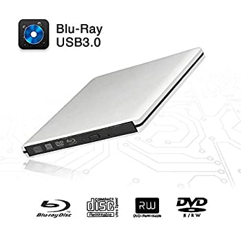 External Blu-Ray DVD Drive USB 3.0 Portable Ultra-Thin 3D CD BD Blu-ray Player/Writer/Burner BD-ROM Used for Various Brand Computer PC Desktop Laptop-Does not include tablets  Silver