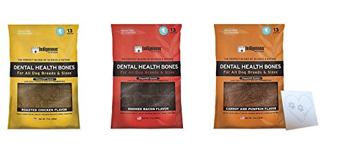 Indigenous Dental Health Bones Variety Bundle: Bacon, Roasted Chicken, Carrot Pumpkin, (17 Ounces Each, 51 Ounces Total)