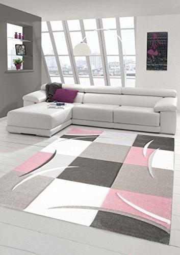 Designer Teppich Moderner Teppich Wohnzimmer Teppich Kurzflor Teppich mit Konturenschnitt Karo Muster Pastellfarben Rosa Creme Beige Dunkelgrau Größe 120x170 cm