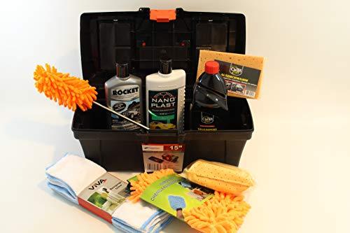 Gluecksshop Autopflegeset -Transportbox 40x19x20 cm, 14 Teile - mit z.B. Rocketwachs u. Nanokonzentrat