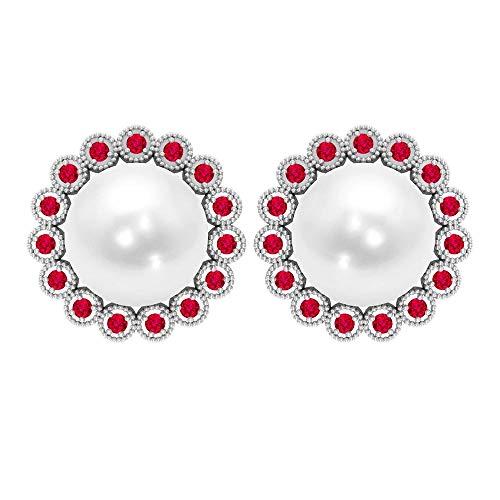 Pendientes de perlas blancas, pendientes antiguos de boda, anillo redondo de rubí halo, 8 ct 8 mm, pendientes de perlas de agua dulce, pendientes de declaración única, tornillo hacia atrás