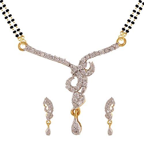 Guldton indisk Bollywood etniskt traditionella mangalsutra hänge med kedja och örhängen smycken för kvinnor