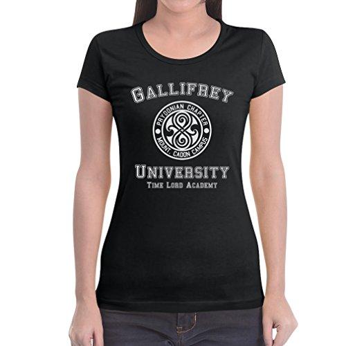 Gallifrey University Damen Schwarz XX-Large T-Shirt Slim Fit - Doctor Time Academy Who