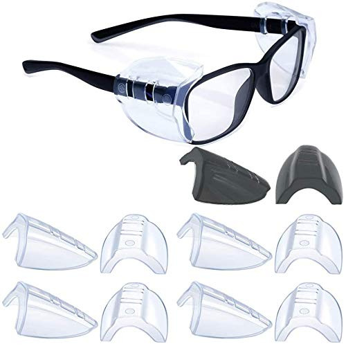 5 Pairs Safety Glasses Side Shields,Slip on Clear Side Shields,Fits Small to Medium Eyeglasses Frames(4 Pairs Clear and 1 Pair Transparent Black)
