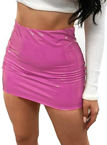 CiKiXZ Damen Lederrock Wetlook PU Leder Bleistiftrock Figurbetont Bodycon Mini Rock Hohe Taille Leather Skirt Hüftrock (Rosa, XL)