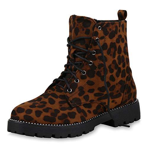 SCARPE VITA Damen Stiefeletten Worker Boots Leicht Gefütterte Outdoor Schuhe Prints Strass Ketten Schnürboots 171671 Leopard Velours 39