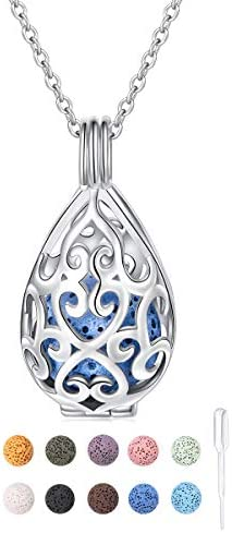 S925 Sterling Silver Aromatherapy Essential Oil Diffuser Necklace Teardrop Locket Perfume Pendant product image