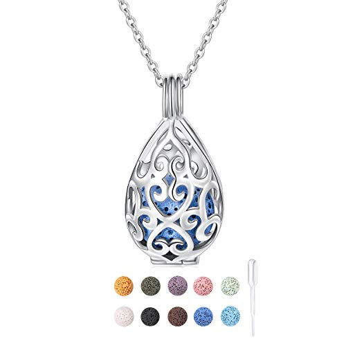S925 Sterling Silver Aromatherapy Essential Oil Diffuser Necklace Teardrop Locket Perfume Pendant Necklace Jewelry 18+2 inches Adjustable Chain with 10 PCS Stones