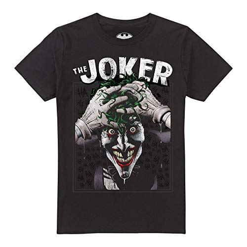 DC Comics Crazed Joker Camiseta, Negro (Black Blk), Large para Hombre