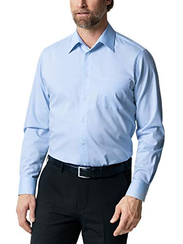 Walbusch Herren Hemd Bügelfrei Naturstretch einfarbig Aquablau 44 - Langarm