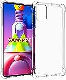 BNBUKLTD® Compatible con Samsung Galaxy M51 Funda transparente a prueba de golpes y lápiz protector de pantalla de cristal