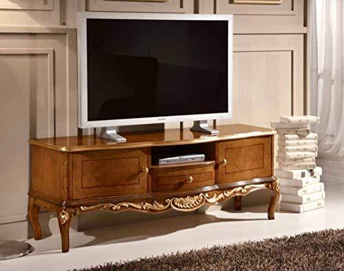 Dafne Italian Design Mueble para TV de estilo clásico nogal (150 cm de largo x 49 cm de profundidad x 56 cm de altura) (TVG)