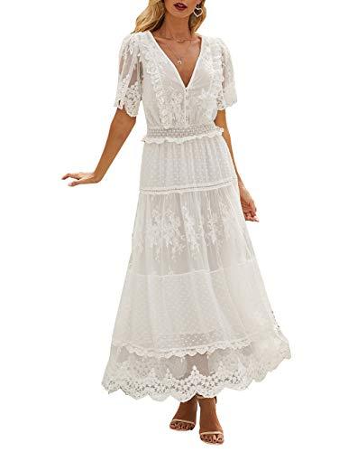 TOUVIE Damen Festliche Kleider Maxi Hochzeit Elegant Brautjungfer Cocktailkleid Faltenrock Lange Abendkleid mit Spitze Weiß S