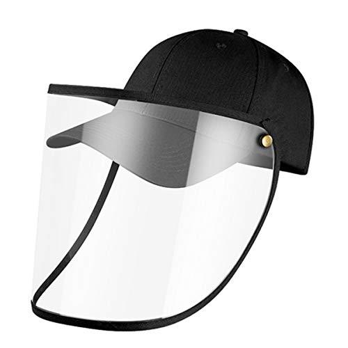 MOHOO Cappellino da baseball con protezione per gli occhi rimovibile, protezione trasparente contro schizzi di saliva, visiera, baseball, antivento, per adulti Nero
