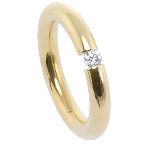 Kadó Ring Changes Edelstahl beschichtet in Farbe Gold, bombiert glänzend mit Zirkonia in Farbe kristall 3,5mm 250-3,5-02P-G (56 (17.8))