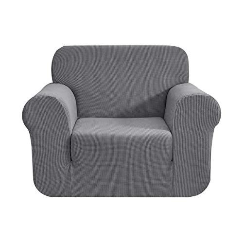 CHUN YI 1-Stück Sofa Überwürfe Sofabezug Jacquard Elastische Stretch Spandex Couchbezug Sofahusse Sofa Abdeckung (Hellgrau, 1-sitzer)