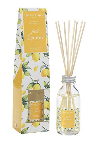 Just Lemon Fragranced Reed Diffuser 100ml - Long Lasting Home Indoor Fragrance - with 8 Rattan Reeds