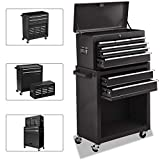 Finestyle 8 Drawers High Capacity Tool Box, Tool Chest with Wheels and Lockable Drawers, Roller Movable Tool Storage Cabinet, Large Capacity Tool Box for Warehouse, Garage (Black-Toolbox)